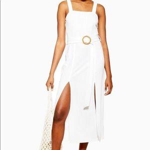 Topshop Ribbed Rafia Belt Cream Midi Dress, Size 8
